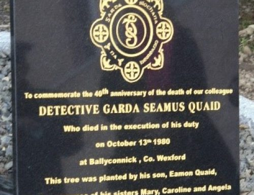 40th Anniversary Commemoration Detective Garda SEAMUS QUAID, reports Tom Miller- CC Member and Wexford Branch